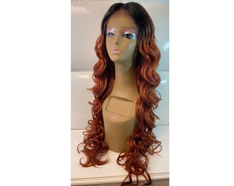 Lace Front Wig * COPPER RED (dark roots) * Extra Long Wavy Hair * Deep Center Part * Natural Loose Waves * Synthetic * Mermaid Amber Color