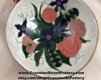Ceramic Bowl-Mid-Century Inspired Flower Bowl-Pink Flowers Bowl- Flowers Bowl