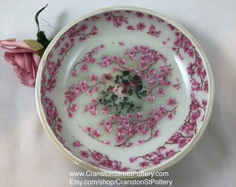Ceramic Bowl-Gift Idea-Cherry Blossoms with Red Roses Porcelain Bowl-Cherry Blossoms-Porcelain Bowl-Red Roses Porcelain Bowl