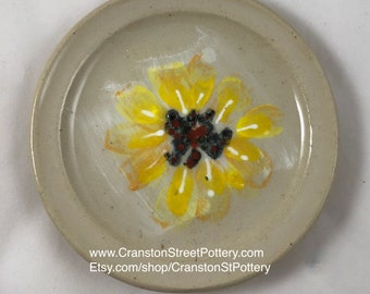 Plate-Gift Idea-Yellow Flower Ceramic Plate A-Yellow Flower Series