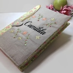 Custom Book Cover, Personalized Name Bible Cover , Custom Name Journal Cover, Bible Cover ,with Name, Floral Book Cover, Embroidered Cover
