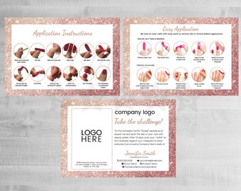Twosie Card, Challenge Card, Sample Card, Nail Polish Strips Marketing, Nail Stylist, Rose Gold Glittter, Application Instructions