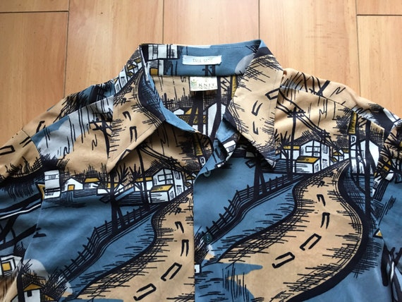 INSANE Vintage 1970's Town Print Knit Polyester Di