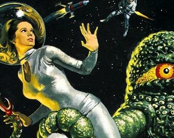 "The Green Slime -- 11"" x 17"" Poster Art Print    Slime Aliens vs Space Studs!"