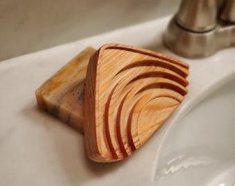 Cypress Soap Dish, Wood, Triangle, Handmade, American