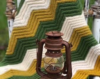 1970s decor boho home Vintage Knitted Afghan rainbow stripes