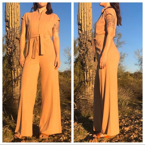1970s Mod Small Wide Leg Knit Belted Jumpsuit Soli