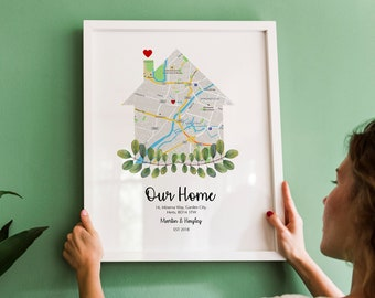 Custom Home Print, Gift for Couple, Gift for Family, New Home, Personalised Print, Custom Home Decor, New Home Gift, Housewarming Gift Map