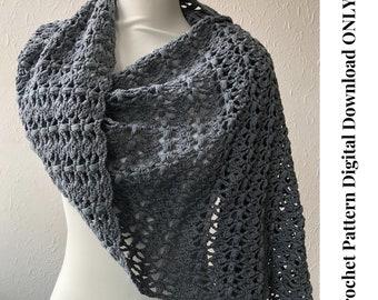 Joanne Shawl, modern crochet shawl pattern, easy crochet shawl, boho wrap pattern, pdf pattern, digital download only