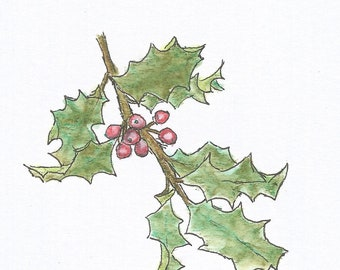 Holly seasonal card download