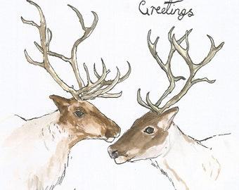 Reindeer Love greeting card JPEG download