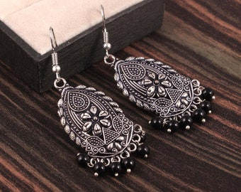 Oxidized Handmade Hanging Fish Shape Eardrop Tribal Jhumka Jhumki Earrings Metal Chandbali Earwire Jhumki Earring for Women and Girls