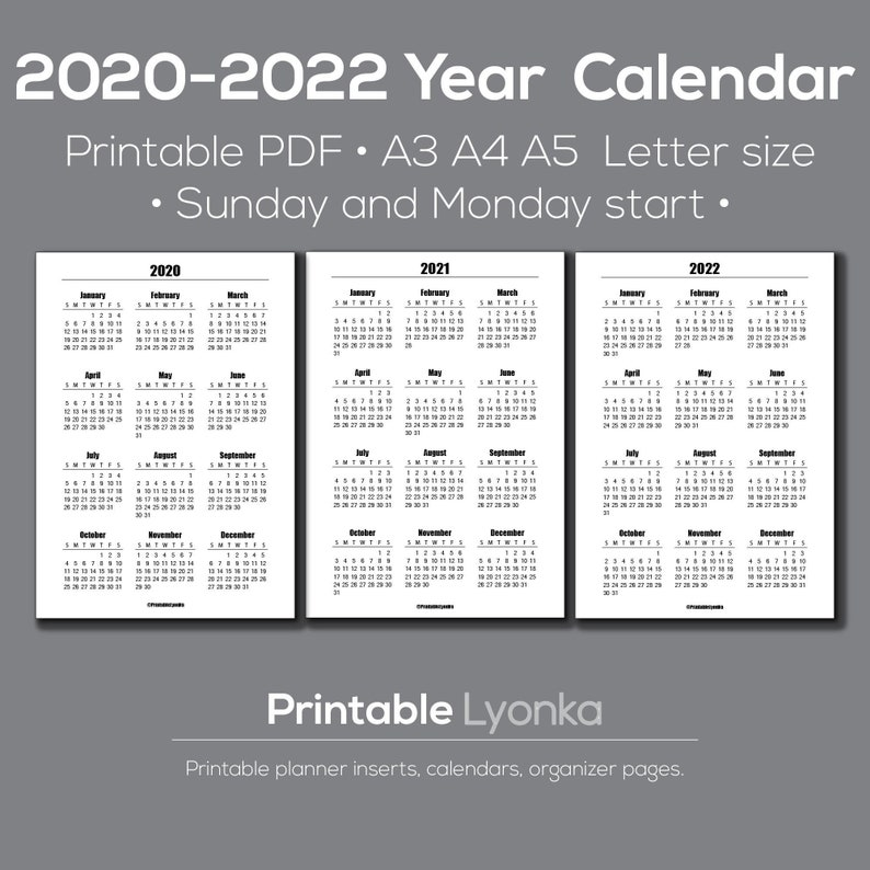 2020 2021 2022 Yearly Calendar printable/ Pdf/ A3 A4 A5 | Etsy