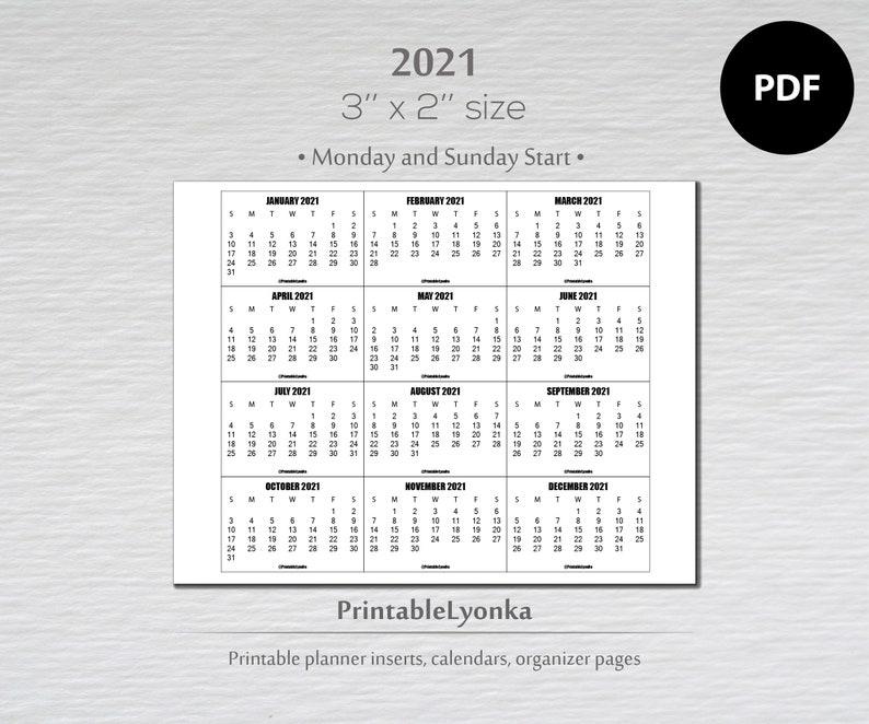 3 x 2 inch mini Calendars 2021/ Small printable calendar ...
