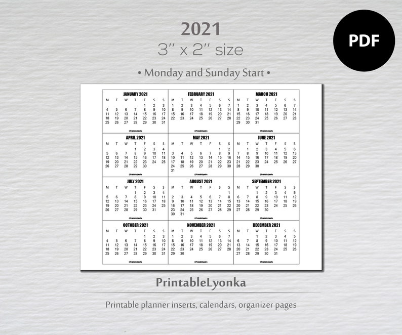 3 x 2 inch mini Calendars 2021/ Small printable calendar ...