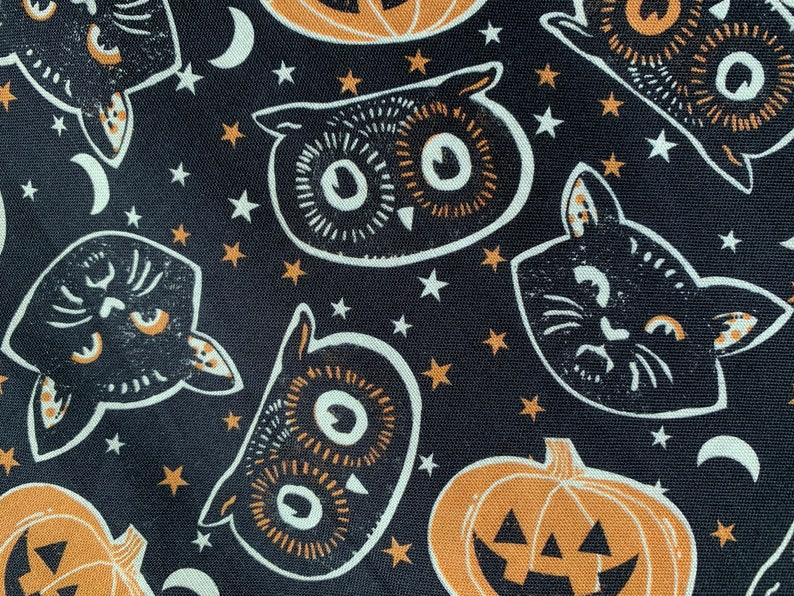 Owl Pumpkin Fabric Black Cat 100/% Cotton  Halloween Fall Spooky Witch Theme Fat Qtr or Fabric Cut