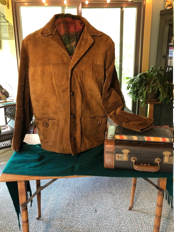 Men's 70's Cooper Sportswear jacket suede and cord