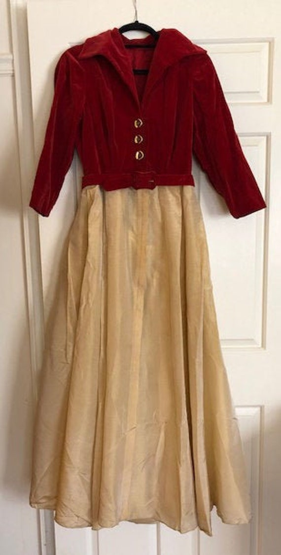 1940s Velvet and Silk Taffeta Dress