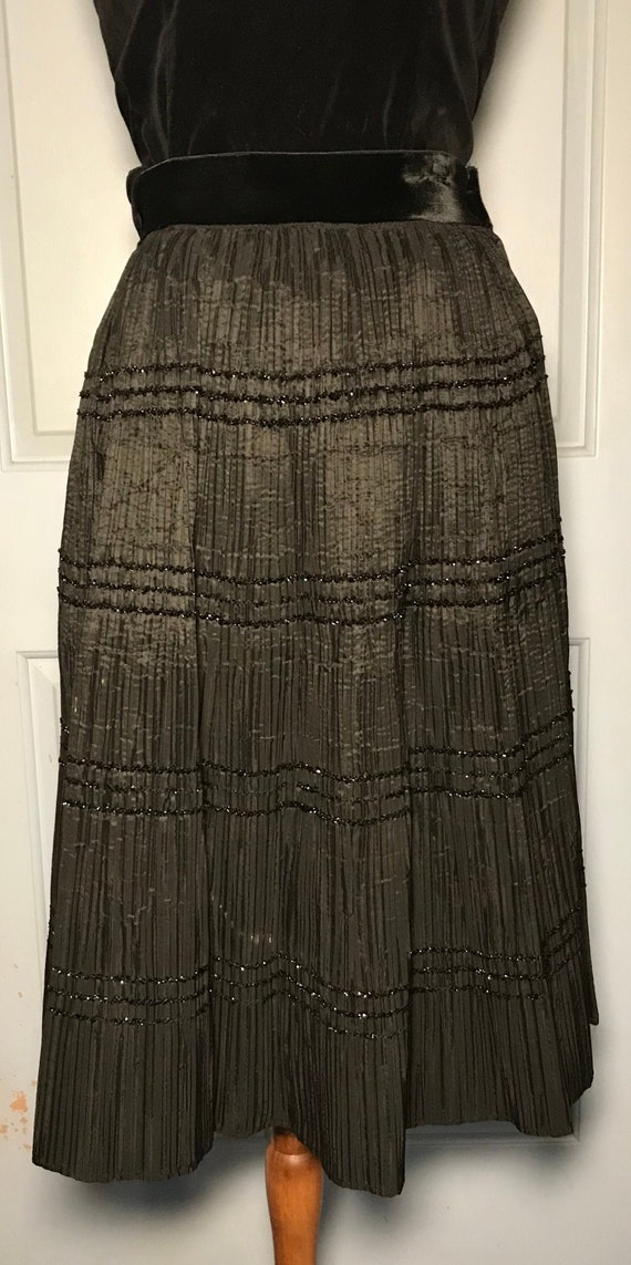 Fancy pleated 1950s evening skirt