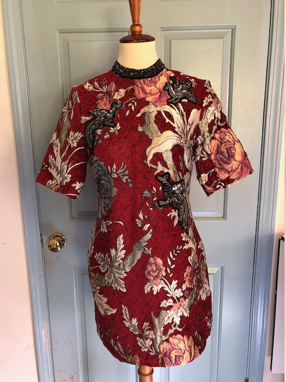 1960's brocade chinese tunic with dragon applique