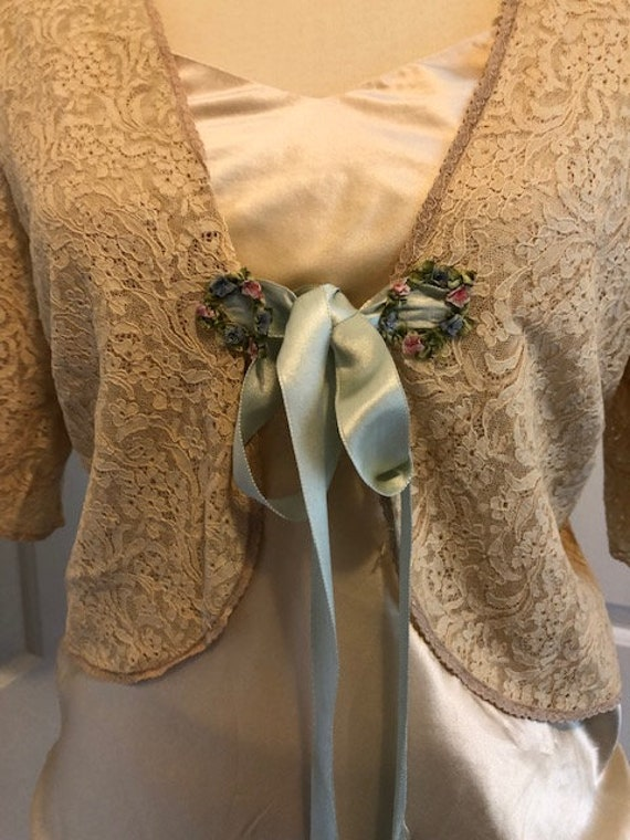 1930's silk and lace bed jacket