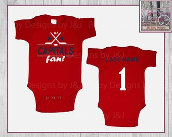Washington Capitals Fan  Hockey Team  Baby Onesie Creeper Hat Set Personalized Embroidered