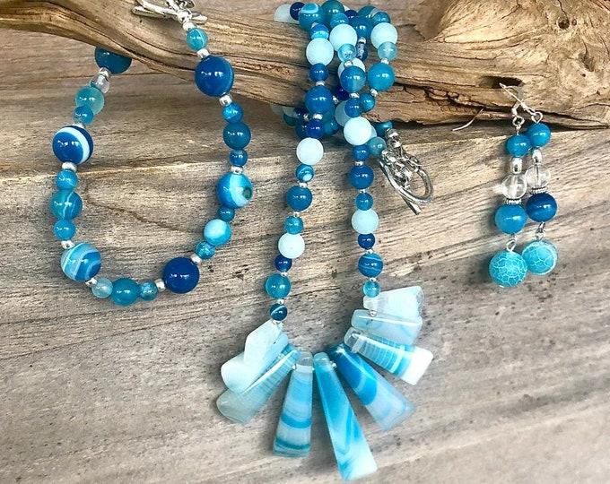 Set of Three: Necklace , Earrings, Bracelet, Blue Amazonite, Pearl & Agate
