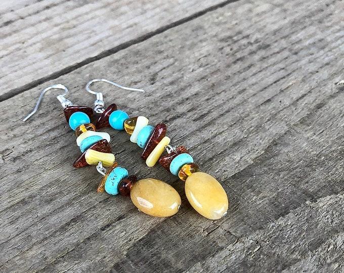 Turquoise, Jade & Amber Earrings