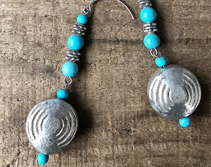 Turquoise & Silver Drop Earrings