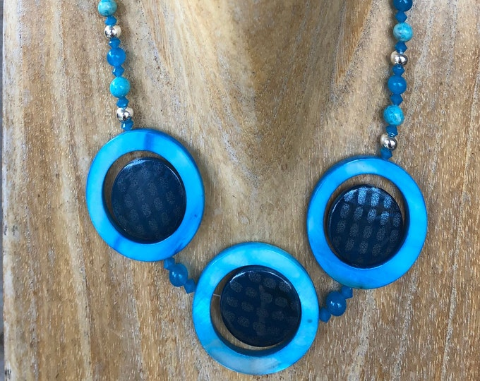 Retro Mother of Pearl, Blue Topaz & Agate Necklace