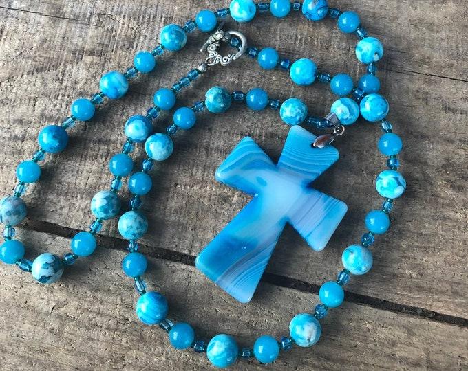 Blue Crazy Lace Agate Cross Necklace