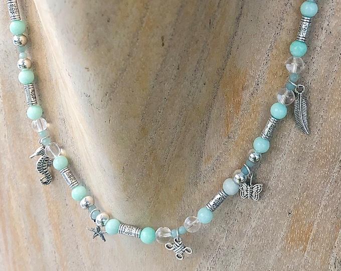 Amazonite Stone Bead & Silver Charm Necklace
