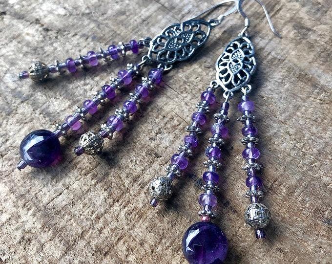 Amethyst & Silver Chandelier Earrings