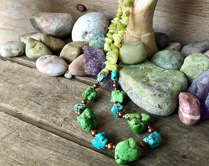 Green & Blue Turquoise Jade & Copper Necklace