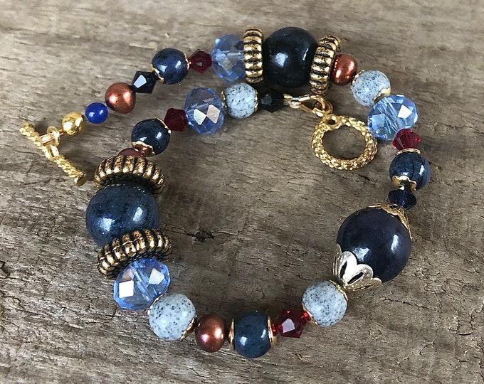 Sodalite, Crystal & Freshwater Pearl Bracelet