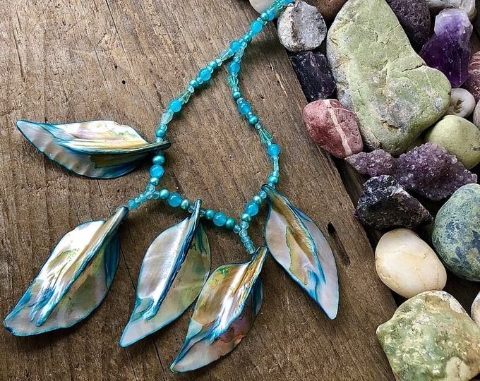 Blue Lapis Lazuli & Silver Pearl Necklace