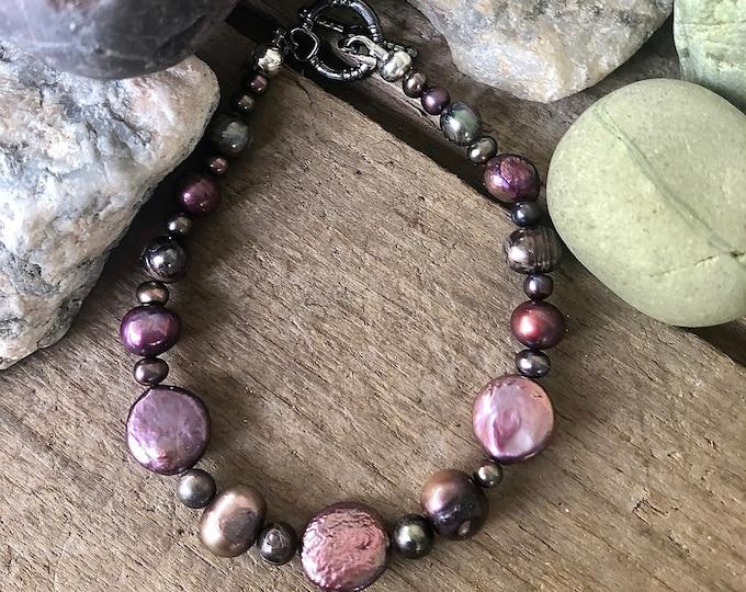 Plum Freshwater Pearl Bracelet