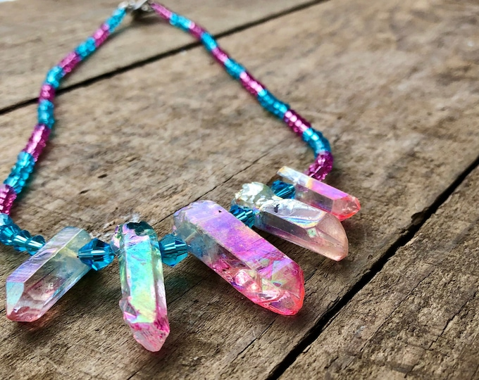 Pink and Blue Crystal & Quartz Necklace