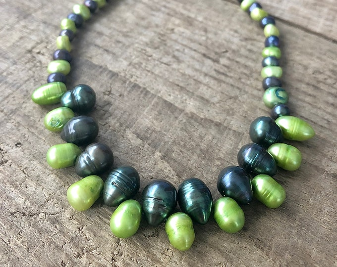 Blue and Green Freshwater Pearl Necklace