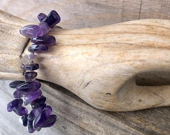 Raw Purple Amethyst Bracelet