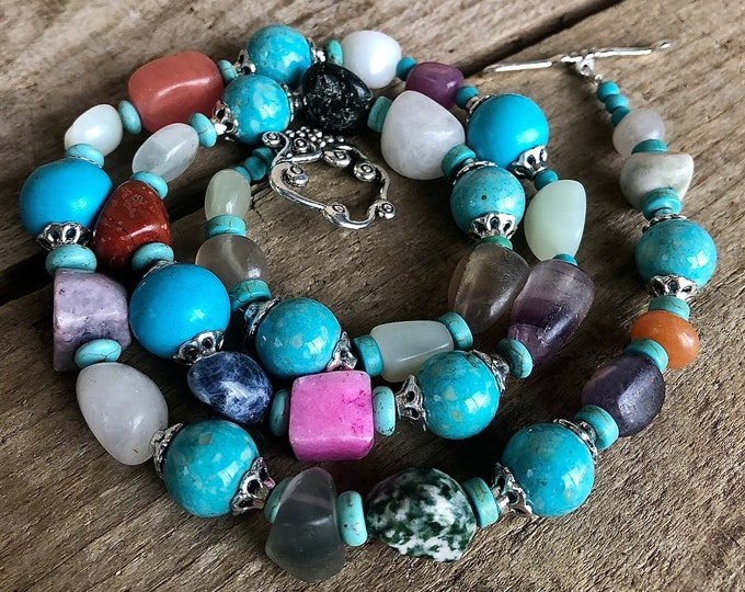 Turquoise, Quartz, Jasper & Carnelian Necklace