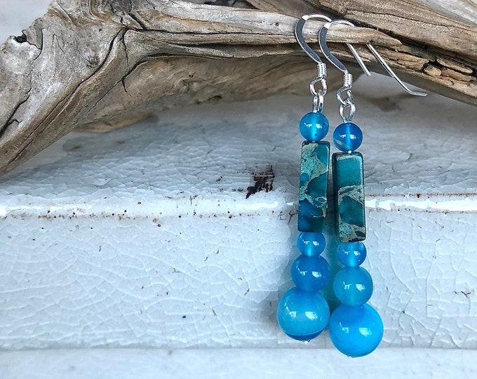 Blue Crazy Lace Agate & Jasper Earrings