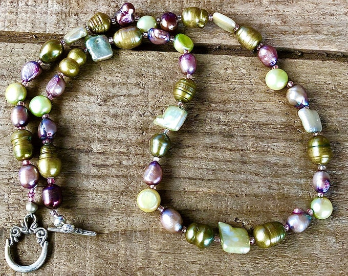 Green and Pink Freshwater Pearl Necklace