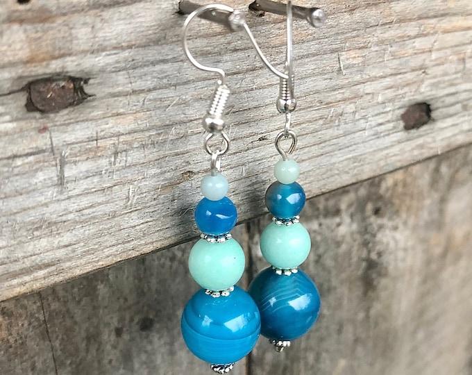 Agate & Amazonite Drop Earrings