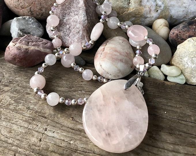 Pink Rose Quartz Pendant Necklace