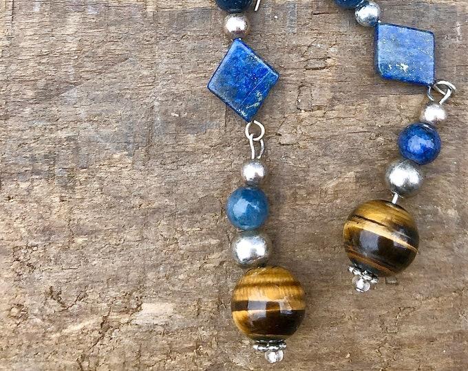 Tiger Eye & Blue Lapis Earrings
