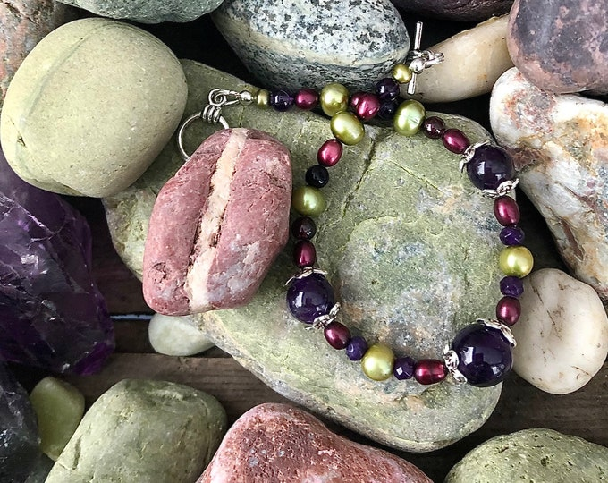 Boho Amethyst & Pearl Bracelet with Silver Charms