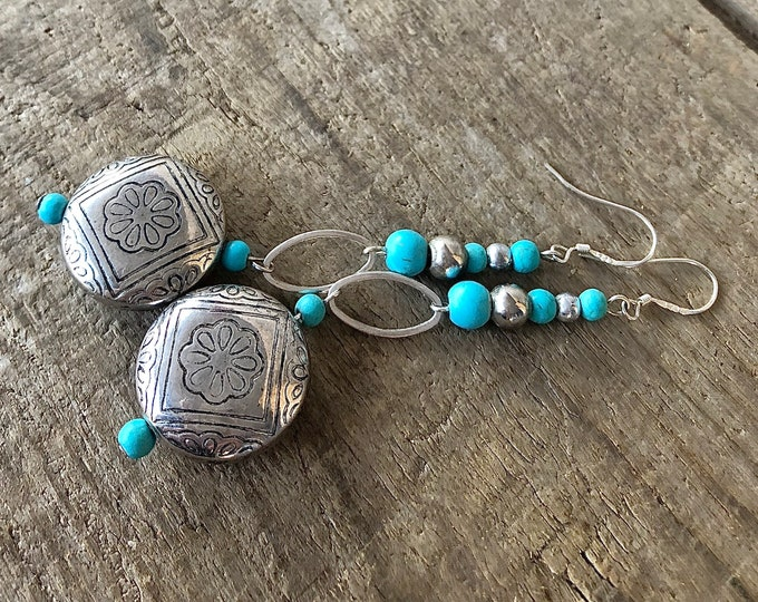 Long Turquoise & Silver Drop Earrings