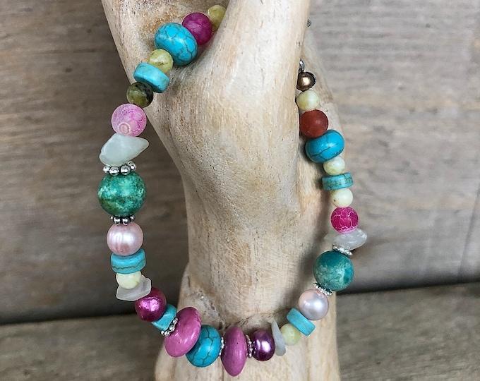 Turquoise, Quartz, Pearl, Jade, Howlite & Silver Bracelet
