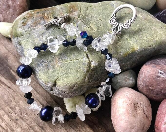 Navy Freshwater Pearl, Crystal & Quartz Bracelet